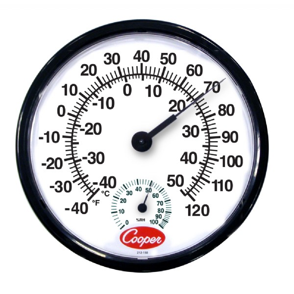 "12"" Wall Thermometer / Humidity Meter"