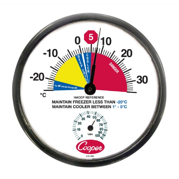 "12"" HACCP Cooler / Freezer Wall Thermometer - Celsius"